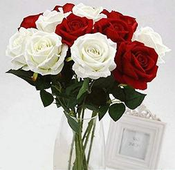 Homcomoda 12pcs Artificial Flowers Flannel Rose Flower Fake