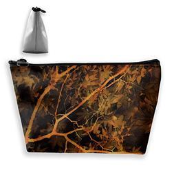 Makeup Bag Trapezoidal Storage Bag Leaves Trees Fall Portabl