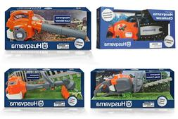 Battery operated HUSQVARNA toys chainsaw leaf blower hedgetr