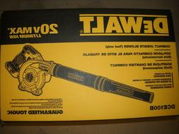 DEWALT DCE100B 20V MAX Compact Jobsite Blower NEW
