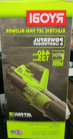 Ryobi Electric Jet Fan Leaf Blower 135 MPH 440 CFM 8 Amp Mot