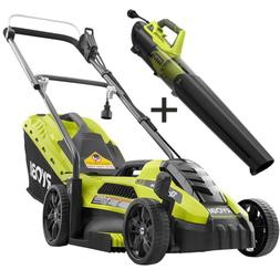 Electric Lawn Mower Push Walk Behind Leaf Blower Combo Kit C