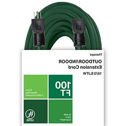 Thonapa 100 Ft Outdoor Extension Cord- 16/3 SJTW Durable Gre