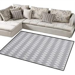 Geometric,Carpet,Greyscale Floral Pattern with Abstract Leaf