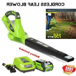 Greenworks Lightweight Cordless Leaf Blower 40V Battery Char