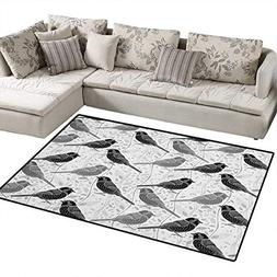 Grey,Carpet,Floral Flower Buds Leaves Pattern English Countr