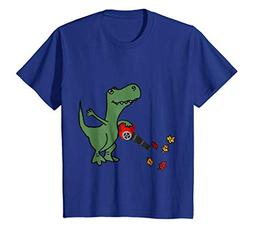 Kids Smilealottees Funny T-rex Dinosaur using Leaf Blower T-