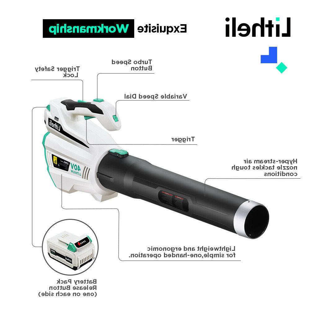 LitheLi Leaf Blower Cordless Brushless w/ 2.5AH Battery &