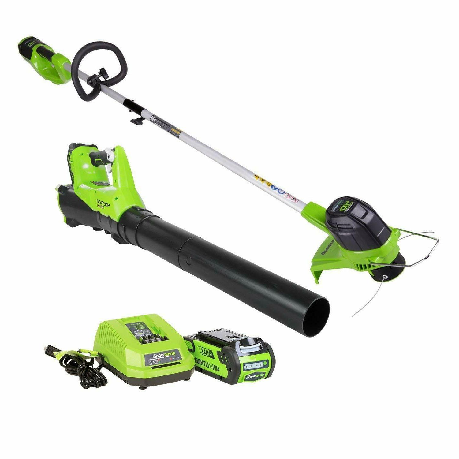 Cordless String Trimmer Leaf Blower Combo Set Battery Charge