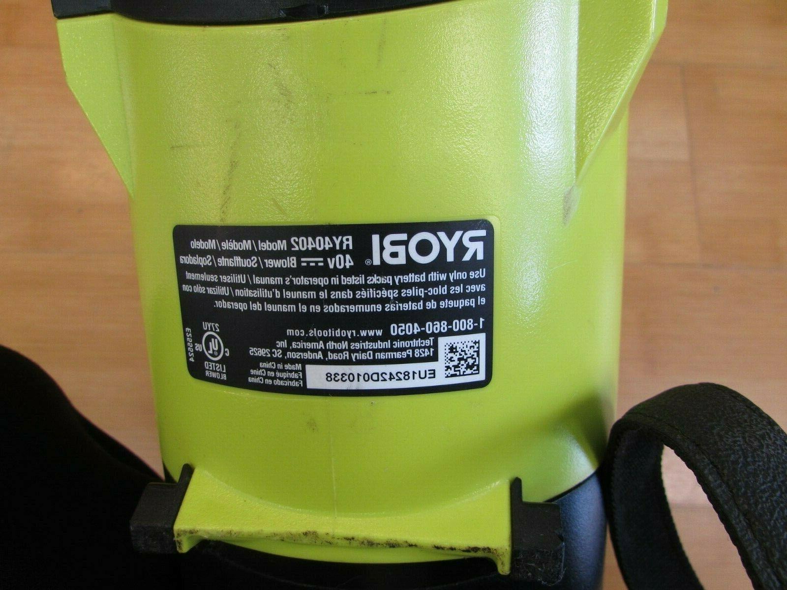 RYOBI RY40402 155MPH 40V LI-ION FAN BLOWER BATTERY
