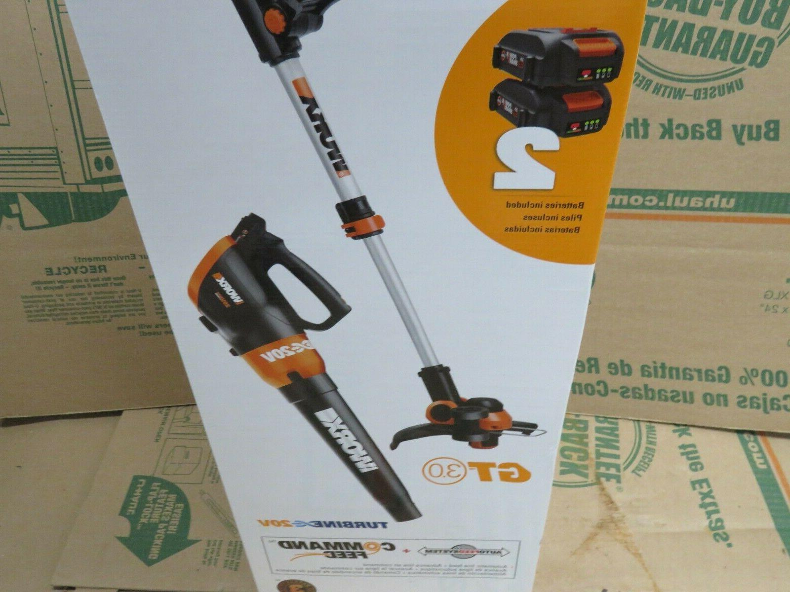 WORX WG921 PowerShare Grass Trimmer Edger & Leaf with Batteries