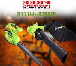 Leaf Blower Vacuum Machine 12 Amp Lawn Yard Mulcher Bag 2 Sp