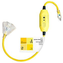 Thonapa 3 Foot Lighted Outdoor GFCI Extension Cord - 12/3 SJ
