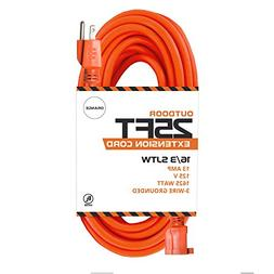 25 Ft Orange Extension Cord - 16/3 SJTW Heavy Duty Outdoor E
